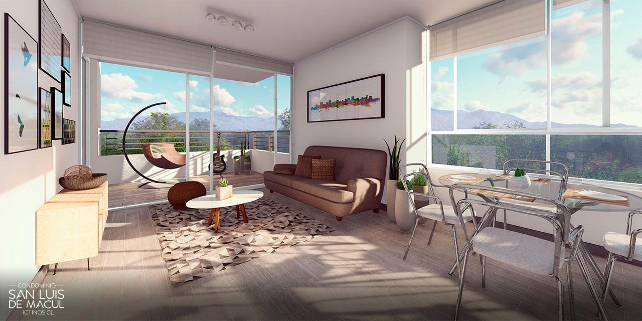 Living Comedor Tipo D de Proyecto Condominio San Luis de Macul
