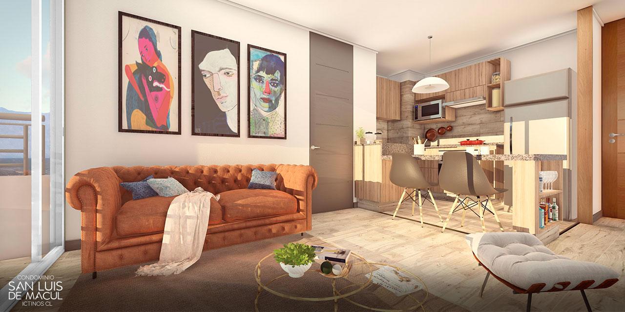 Living Comedor Tipo F de Proyecto Condominio San Luis de Macul