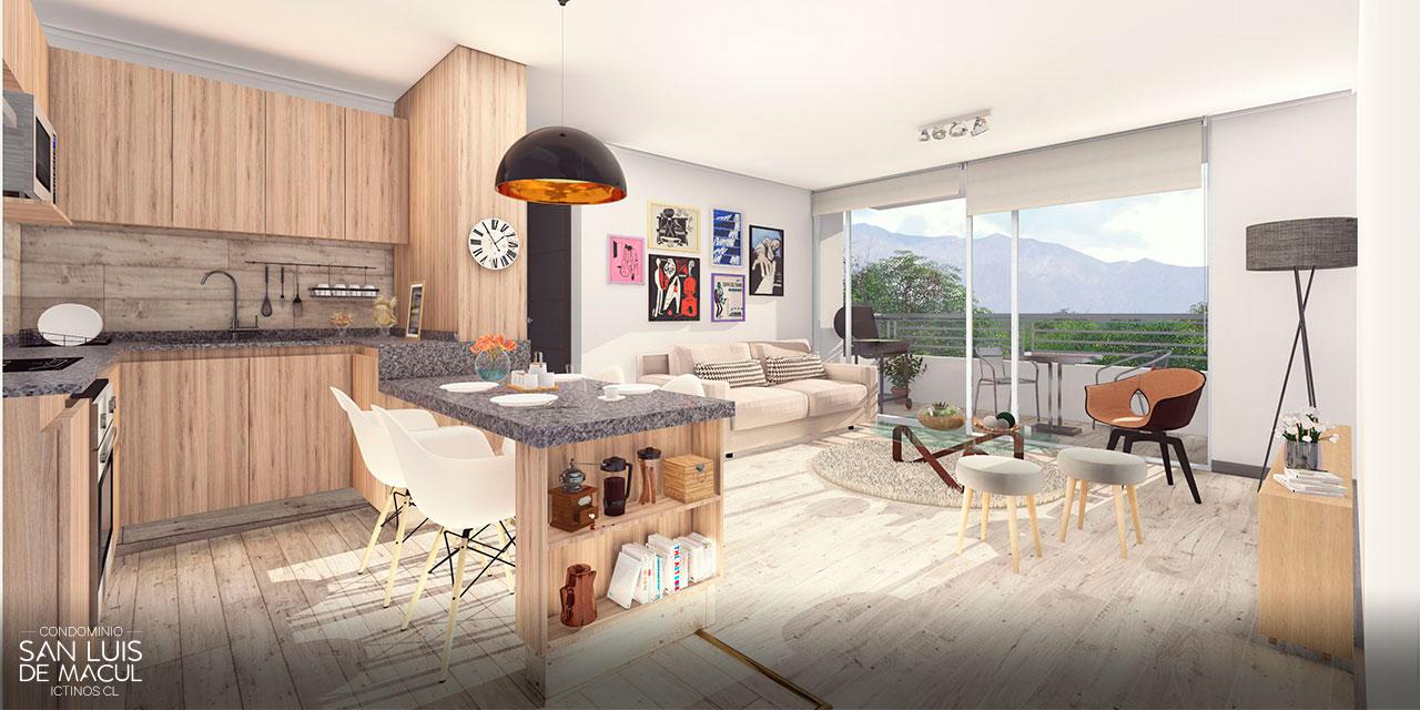 Living Comedor Tipo E de Proyecto Condominio San Luis de Macul