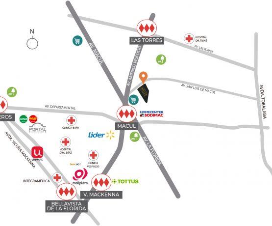 Mapa de conectividad de Proyecto Condominio San Luis de Macul