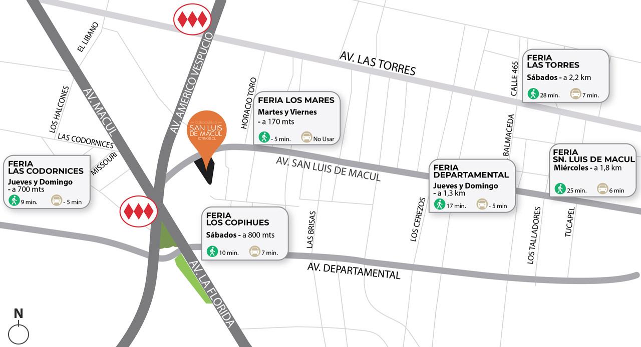 Mapa de conectividad y locales cercanos de Proyecto Condominio San Luis de Macul