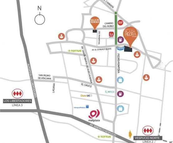 Mapa de conectividad de Condominio Plaza Piedra