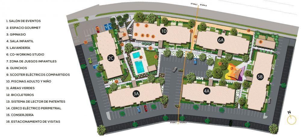Plano conjunto de Condominio Plaza Piedra