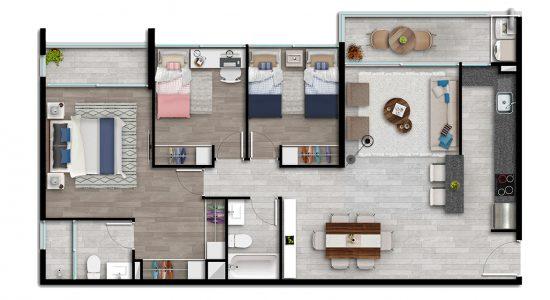 Departamento Modelo Tipo Ai de Condominio Plaza Piedra