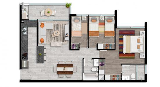 Departamento Modelo Tipo Ai1 de Condominio Plaza Piedra