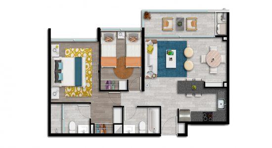 Departamento Modelo Tipo Bi1 Condominio Plaza Piedra